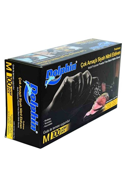 Dolphin Pudrasız Siyah Nitril Eldiven Orta Boy (M) 100 Lü Paket