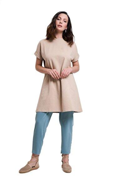 Mizalle Kadın Kol Katlamalı Tunik T-shirt