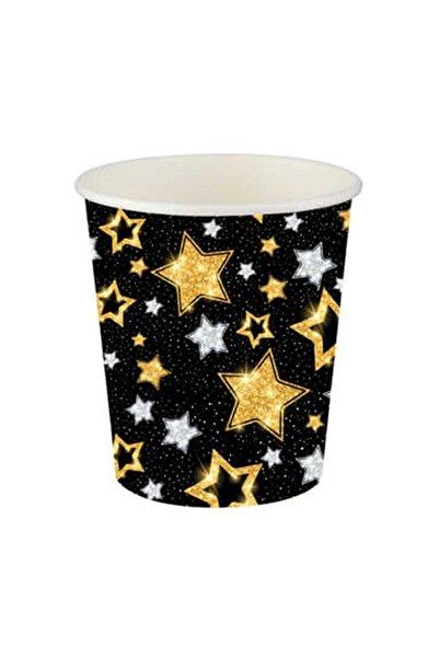 Roll-Up Yıldızlar Siyah Karton Bardak