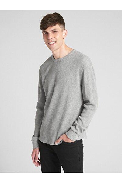 GAP Erkek Gri Uzun Kollu Klasik T-Shirt