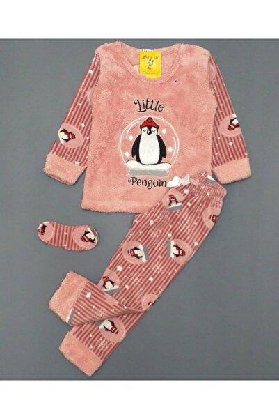 Tarık Penguen Desenli Uyku Bandlı Kız Çocuk Polar Pijama Takım