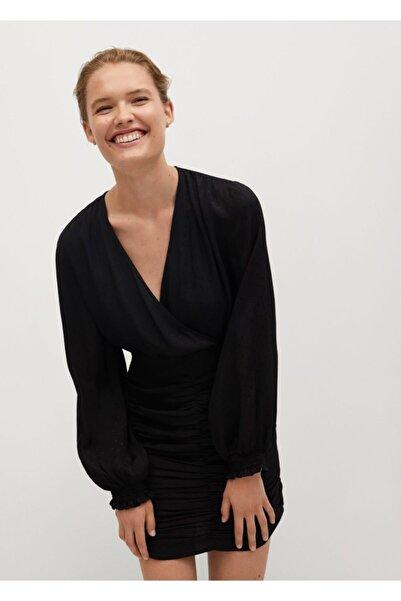 MANGO Woman Kadın Siyah Elbise