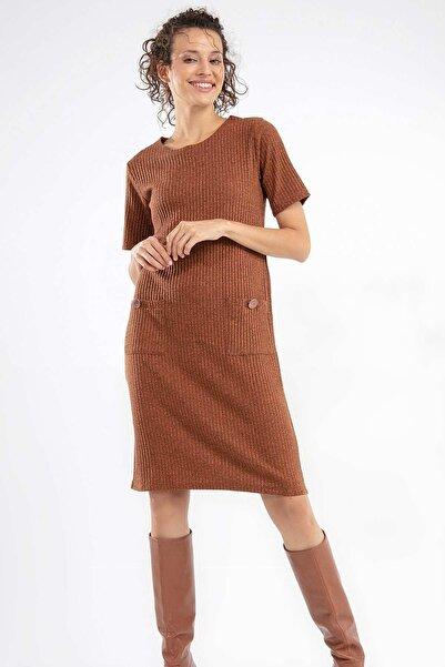 Y-London Kadın Taba Kısa Kol Cepli Elbise 38571