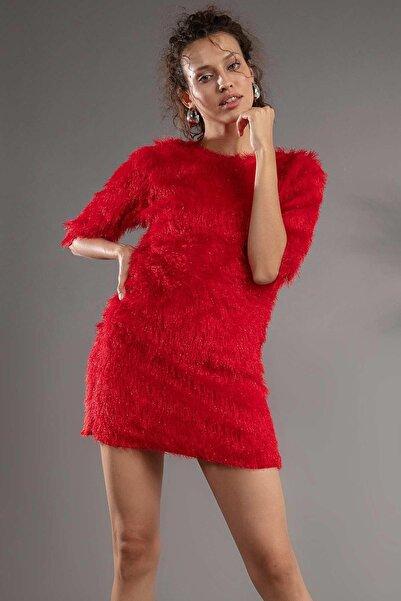 Y-London Kadın Kırmızı Truvakar Kol Sakallı Kumaş Mini Elbise F088