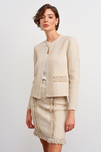 Kadın Ekru Broş Detaylı Simli Triko Ceket