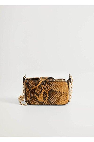 MANGO Woman Yılan Derisi Görünümlü Mini Çanta