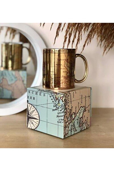 Gift Moda Özel Kutulu Our Adventure Mug Tasarımlı Gold Kupa