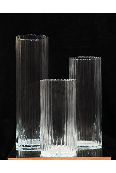 GLASSY 3'lü Cam Silindir Vazo Seti ( 15 Cm Çap 30-40-50 Cm )