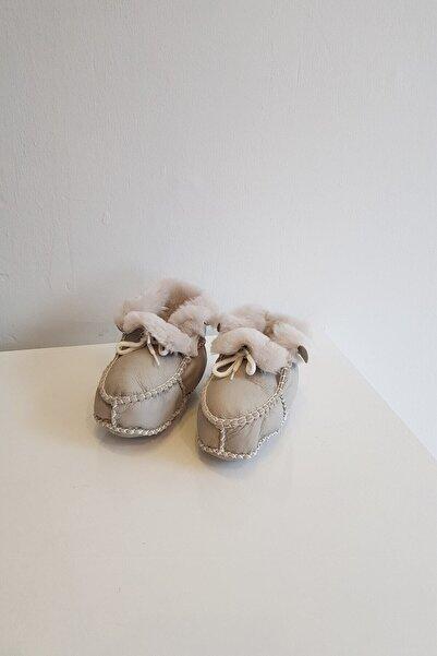 Papulin Unisex Bebek Süet Deri Kürklü  Patik