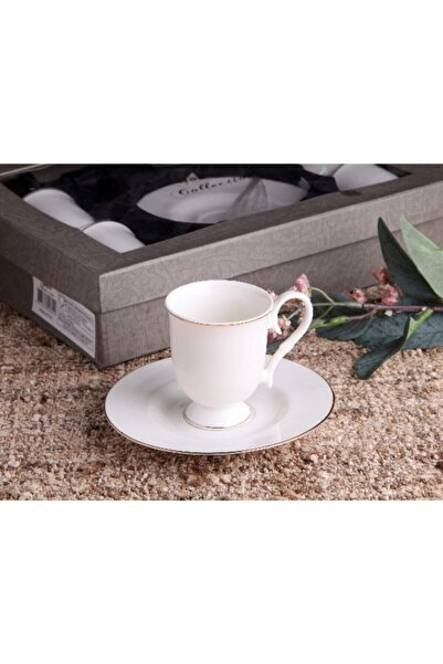 Gönül Kolat Beyaz Ayaklı Yaldızlı Kahve Takımı 12 Parça G2168