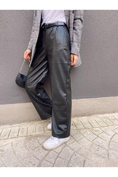 Busra's Boutique Kadın Siyah Deri Pantolon