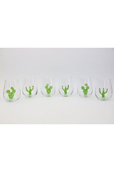 ADAMODART Kaktüs Figürlü Su Bardağı 6 Lı  Set