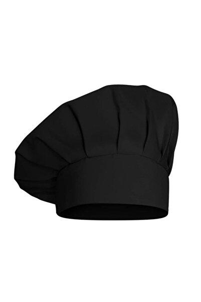 DrMia Unisex Şef Aşçı Kep Aşçı Şapkası Mantar Kep Alpaka Kumaş Siyah