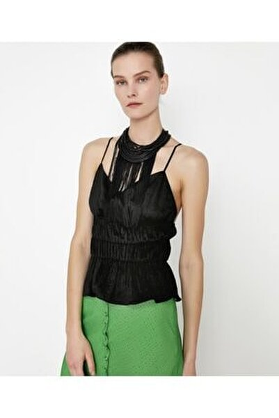 Kadın Siyah Bel Vurgulu Askılı Bluz