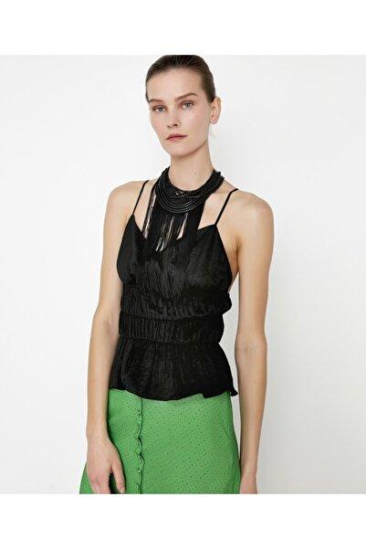 İpekyol Kadın Siyah Bel Vurgulu Askılı Bluz