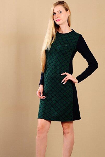 LTC Jeans Kadın Yeşil Ekoseli Elbise