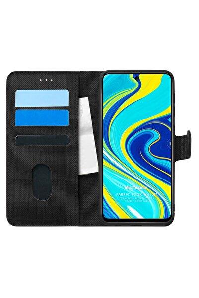Xiaomi Microsonic Redmi Note 9 Pro Kılıf Fabric Book Wallet Siyah