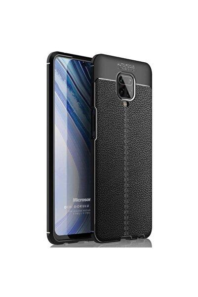 Microsonic Microsonic Redmi Note 9 Pro Kılıf Deri Dokulu Silikon Siyah
