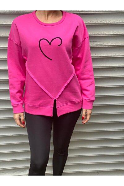 NİCE Kadın Pembe Kalp Baskılı 3 İplik Şardonlu Sweatshirt