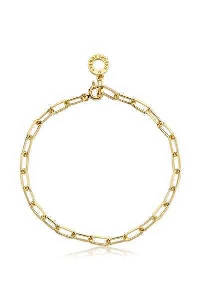Valori Jewels Zincir, Swarovski Zirkon Taşlı, Altın Rengi Gümüş Charm Bileklik