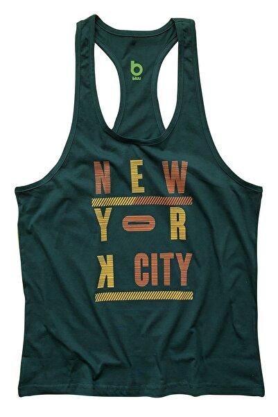 BLUU Erkek Yeşil Newyorkcity Baskılı Fitness Gym Tank Top Sporcu Atleti