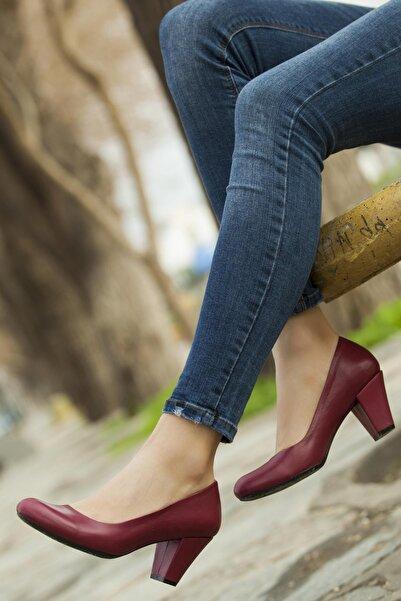 Deripabuc Kadın Bordo Hakiki Deri Topuklu Ayakkabı TRC-1073