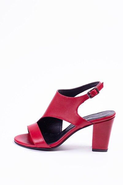 Deripabuc Kadın Kırmızı Hakiki Deri Topuklu Ayakkabı SHN-0117