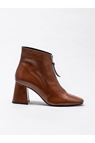 Elle Shoes Taba Deri Kadın Topuklu Bot