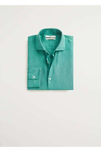 MANGO Man Erkek Yeşil Dar Kesimli %100 Keten Gömlek 77000509