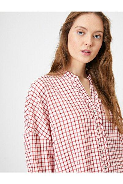 Koton Kadın Kırmızı Beyaz Kareli Gömlek