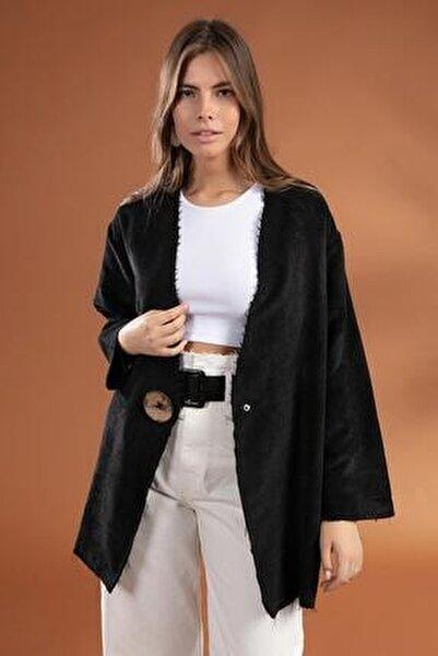 Kadın Siyah Düğme Detaylı Fitilli Kadife Ceket 38069