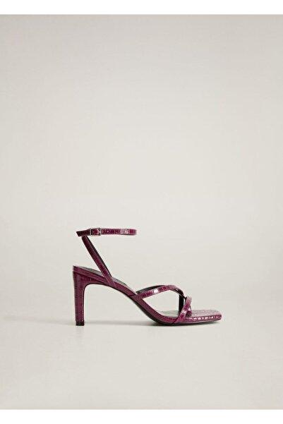 MANGO Woman Timsah Derisi Desenli Asimetrik Sandalet