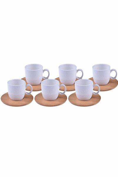 Bambum Beyaz Porselen Kahve Fincan Takımı 6 Kişilik
