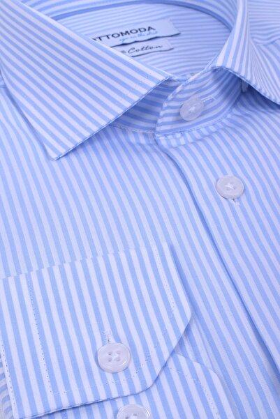 Ottomoda Uzun Kollu Çizgili Gömlek %100 Pamuk Blue