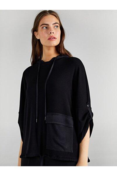 Faik Sönmez Kadın Siyah Kapüşonlu Saten Cep Detaylı Sweatshirt 61554
