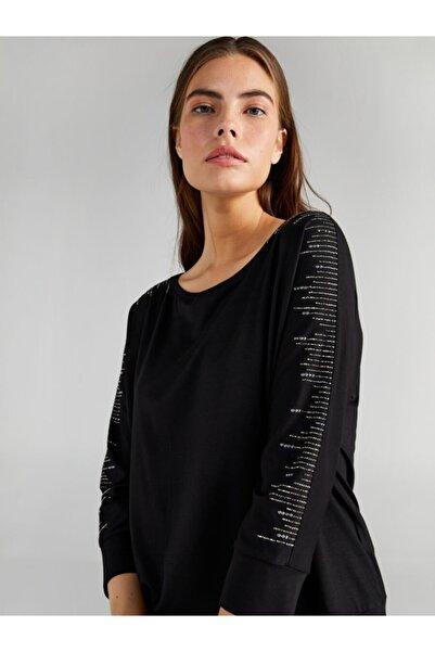 Faik Sönmez Kadın Siyah Uzun Kol T-shirt 61637