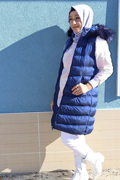 Loreen Kadın Mavi Tasarım Çıkarılabilen Şapkalı Kaz Tüyü Şişme Yelek