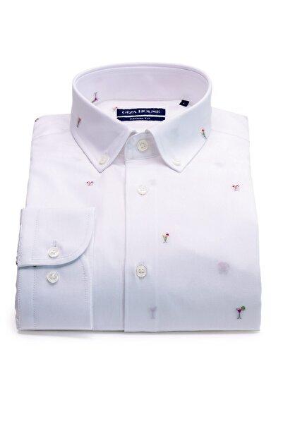 GIZA HOUSE Erkek Beyaz Kokteyl Desenli Fil Yaka Düğmeli Fit Gömlek