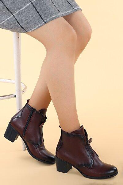 Ayakland Kadın Bordo 8422-2108 Cilt 6 Cm Topuk Termo Bot Ayakkabı