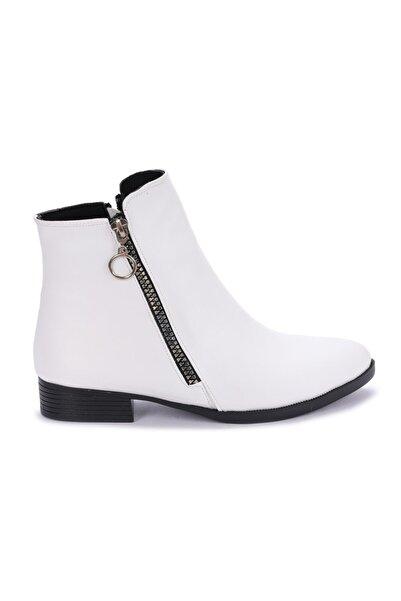 Ayakland Kadın  Beyaz 8284-2123 Cilt Fermuarlı Bot Ayakkabı