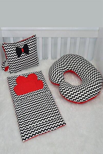 modastra Siyah Beyaz Zigzaglı Kırmızı Çanta, Altaçma Ve Emzirme Yastığı Set