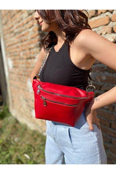 Kashpanya Kadın Kırmızı Renk Zincirli Bel Çanta