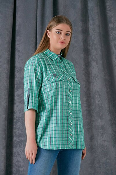 Günay Giyim Kadın Yeşil Gömlek
