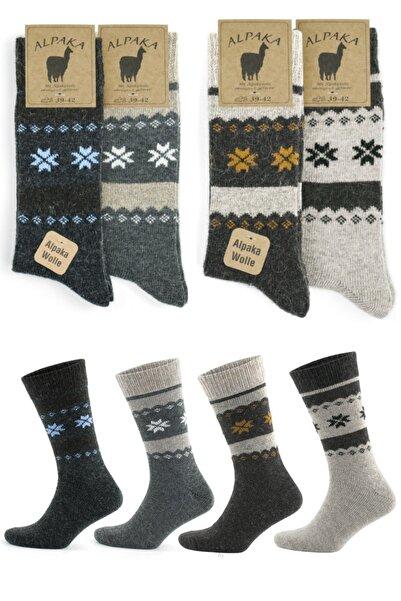socksbox Kışlık Alpaka Doğal Yün Kar Desenli Termal Çorap