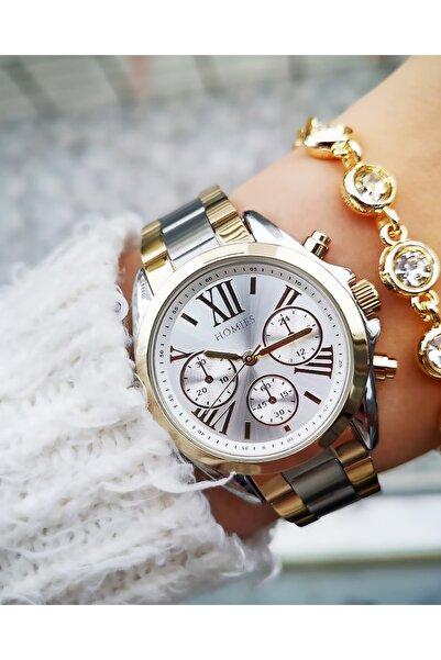 Homies Kadın Çelik Bileklik Hediyeli Şık Saati