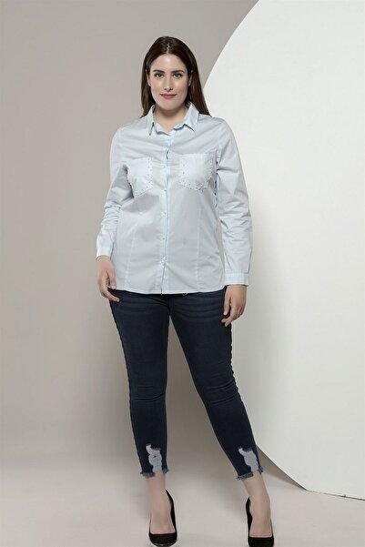 Günay Giyim Kadın Açık Mavi Gömlek Rg6275