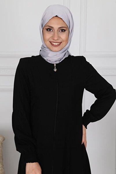 Moda Çizgi Fermuarlı Ferace Siyah Mc2001