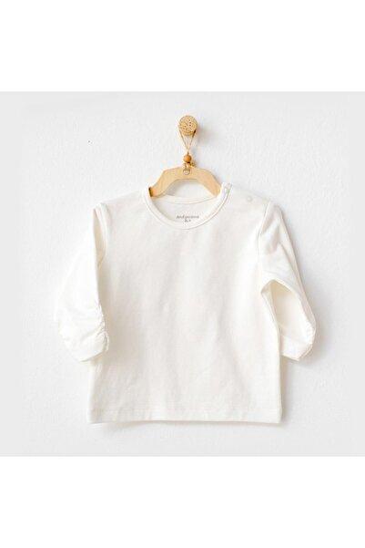 andywawa Unisex Bebek Ekru Long Sleeve Meow Tshirt Ac21247