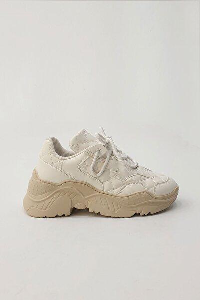 Marjin Kadın Beyaz Young Düz Sneaker
