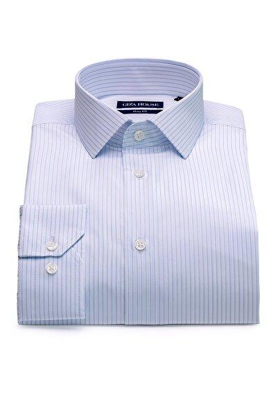 GIZA HOUSE Erkek Mavi Çizgili Slim Fit Lüks Pamuklu Premium Gömlek